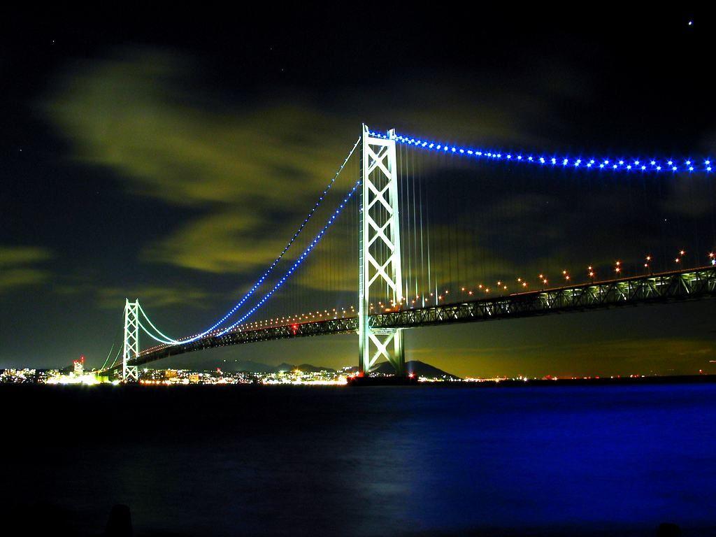 ライトアップと夜景・明石海峡大橋のイルミネーション[壁紙 ...
