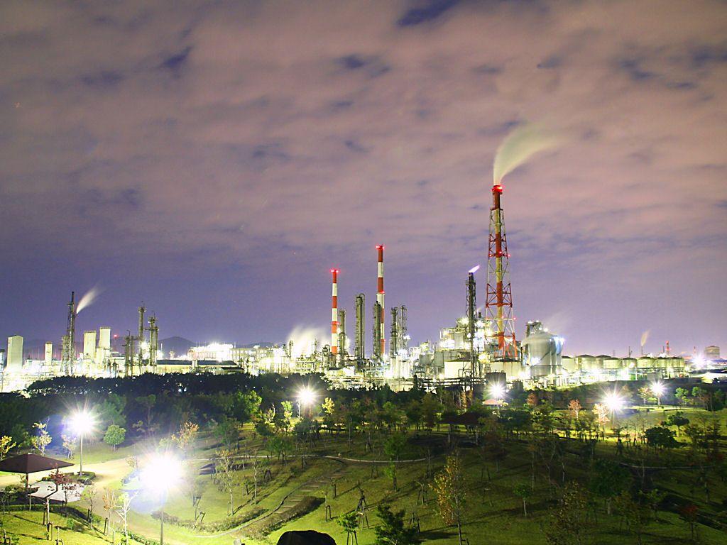 姫路の工場の夜景・ダイセル化学工業網干工場 姫路の工場の夜景・ダイセル化学工業網干工場 姫路の工