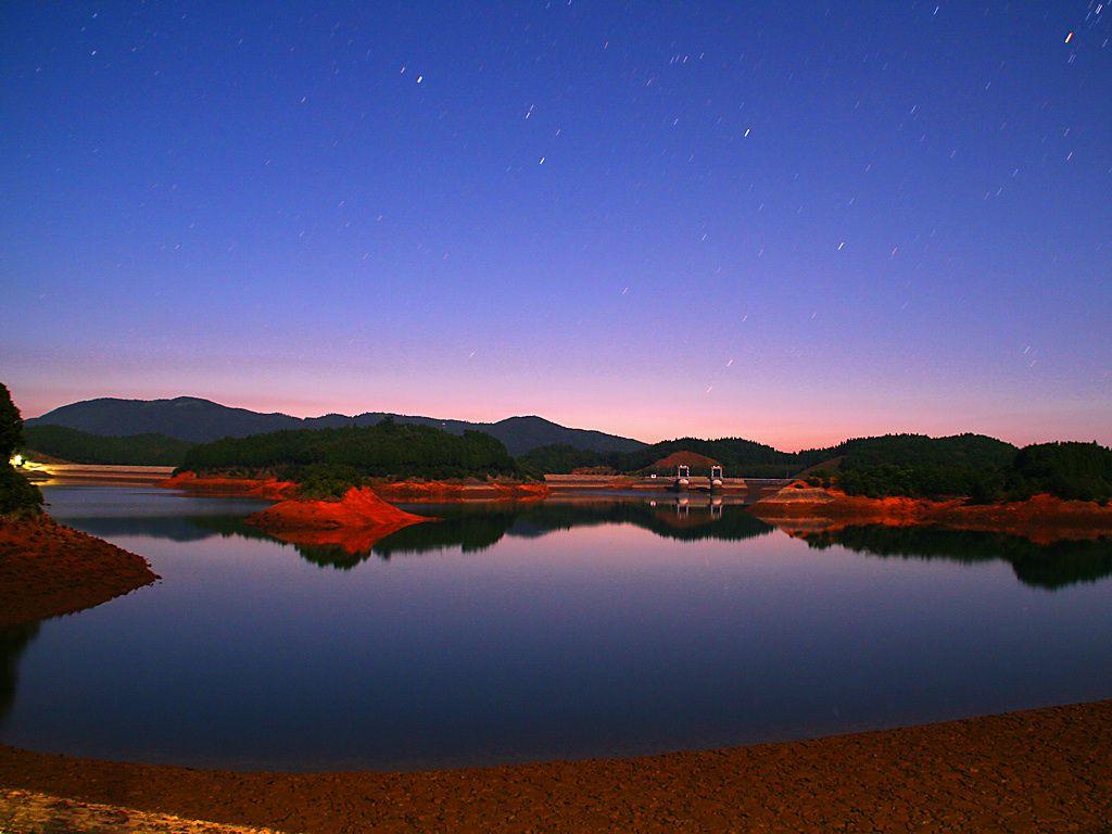 太田ダムの夜景と夜明け・日の出...