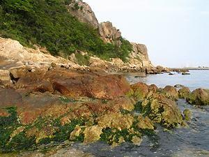 断崖絶壁の岩場が続く小赤壁